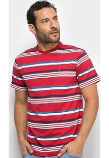 Camiseta Aleatory Fio Tinto Listras Bicolor Masculina - Masculino-Vermelho+Branco