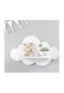 Prateleira Nuvem Branca Quarto Bebê Mdf M 45Cm Gráo De Gente Branco