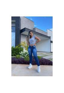 Calça Jeans Feminina Skinny Fec Fashion Cintura Alta Com Elastano Azul
