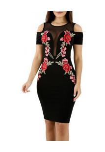 Vestido Ombro À Mostra Elegante Com Rosas Bordadas - Preto