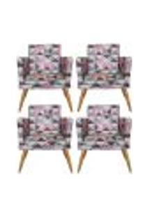 Conjunto 4 Poltronas Decorativa Com Rodapé Nina Triângulo Rosa - Bela Casa Shop