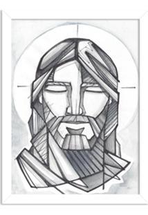 Quadro Decorativo Religião O Rosto Do Senhor Branco - Médio
