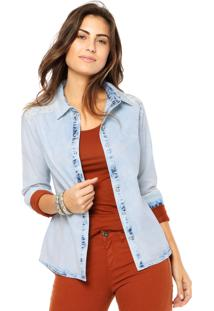 Camisa Jeans Aishty Renda Azul