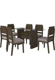 Mesa De Jantar Europa Com 6 Cadeiras Esmeralda Noce Com Pena Caramelo Rv Móveis