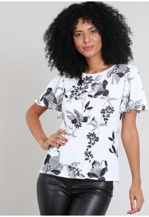 Blusa Feminina Estampada Floral Manga Curta Branca