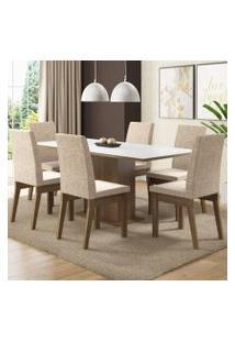 Conjunto Sala De Jantar Madesa Cecília Mesa Tampo De Madeira Com 6 Cadeiras Rustic/Branco/Fendi