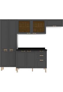 Cozinha Modulada 5 Peças Com Tampo E Nevada 5680Vdtp-Multimóveis - Branco Premium / Grafite Premium