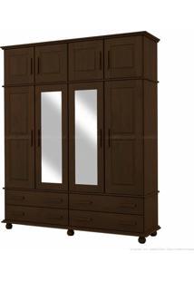 Guarda-Roupa Triplex Com Espelho 4 Gavetas Veneza Em Madeira Maciça 8 Portas Tabaco - Kitimar Móveis