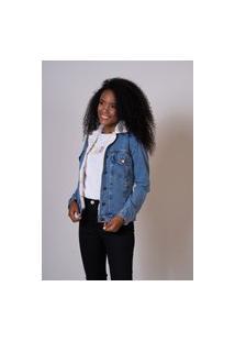 Jaqueta Jeans Azul Aero Jeans Forrada Com Pelos Branco