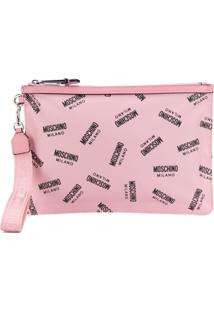 Moschino All-Over Logo Clutch - Rosa
