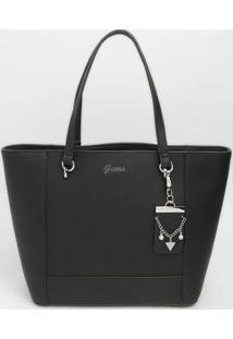 Bolsa Com Bag Charm Com Recortes - Preta- 26X45X13Cmguess