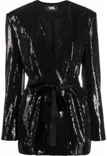 Karl Lagerfeld Jaqueta Com Cinto E Aplicaçã De Paetês - Preto