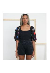 Blusa Cropped Em Tricoline Estampado Com Mangas Bufantes E Lastex