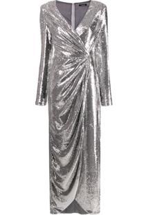 P.A.R.O.S.H. Vestido Assimétrico Com Mangas Longas - Metálico