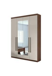 Guarda Roupa Solteiro C/ Espelho 4 Portas 2 Gavetas C/ Kit Gaveta Alonzo New Móveis Lopas Off White/Marrom