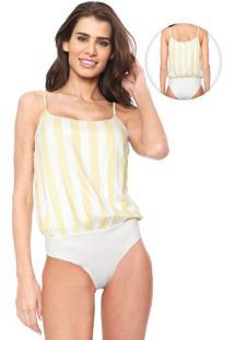 Body Lez A Lez Listrado Amarelo/Off-White