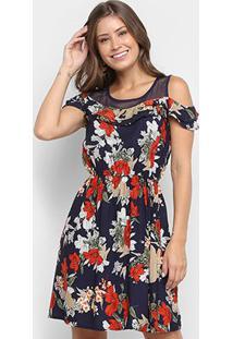 Vestido Lily Fashion Curto Detalhe De Tela Floral - Feminino-Marinho