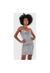 Vestido Lança Perfume Curto Degagê Aplicações Branco/Preto