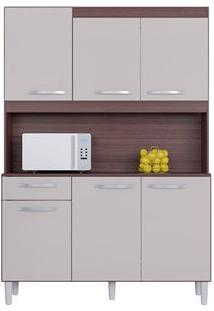 Cozinha 6 Portas 1 Gaveta Carine Capuccino/Offwhite - Lc Móveis