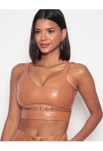 Blusa Cropped Com Detalhe Metã¡Lico- Marrom Claro- Vivide Bula