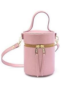 Bolsa Mini Bag Feminina Cilindro Transversal Maria Milão - Feminino-Rosa