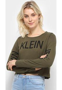 Blusa Calvin Klein Logo Mangas Feminina - Feminino-Oliva
