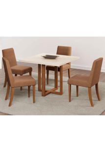 Conjunto De Mesa De Jantar Itália Com 4 Cadeiras Suede Off White E Marrom