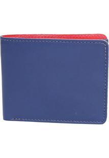 Carteira Em Couro Com Relevo- Azul Marinho & Vermelha