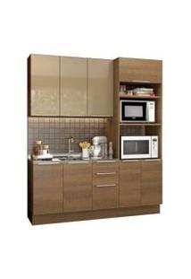 Cozinha Compacta Madesa Stella Florença 8 Portas 3 Gavetas Rustic/Rustic/Crema