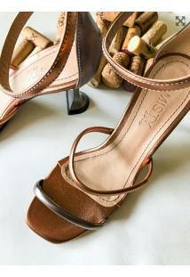 Sandália Tiras Salto Taça Amisty Material Sintético Bronze