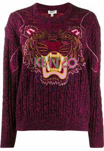 Kenzo Suéter Com Bordado De Tigre E Logo - Rosa