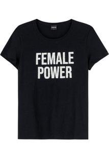 Blusa Feminina Enfim Gola Redonda Female Power - Feminino-Preto