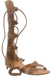 Sandália Fioratto Gladiadora De Amarre Telha - Feminino-Marrom