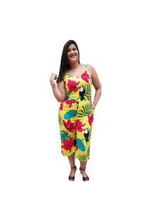 Macacão Pantacourt Linda D+ Floral Amarelo
