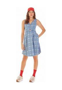 Vestido Midi Decote Transpassado Abertura Frente Jeans P