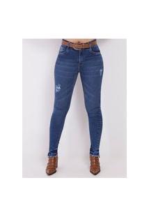 Calça Jeans Com Cinto Feminina Azul