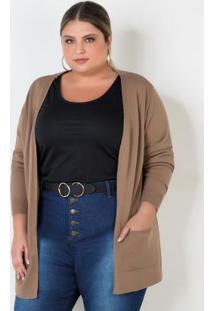 Casaco De Tricot Plus Size Bege Com Bolsos
