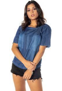Blusa Em Jeans Com Inscriã§Ã£O - Azul Escurodwz