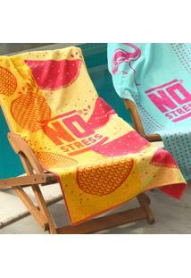 Toalha De Praia Estampada Tropical Amarela - No Stress