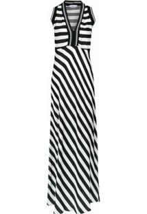 Amir Slama Vestido Longo Listrado - Preto