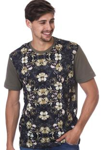 Camiseta Long Island Floral Verde Militar