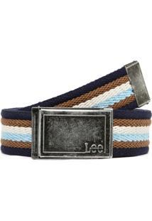 Cinto Lee Listras Azul-Marinho/Bege