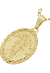 Pingente Medalha São Sebastião Folheada A Ouro 18K - Unissex-Dourado
