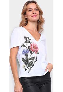Camiseta Lança Perfume Logo Decote V Feminina - Feminino-Branco