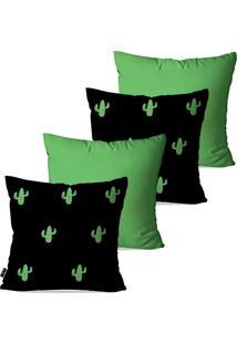 Kit Com 4 Capas Para Almofadas Pump Up Decorativas Verde Cactos 45X45Cm - Verde - Dafiti