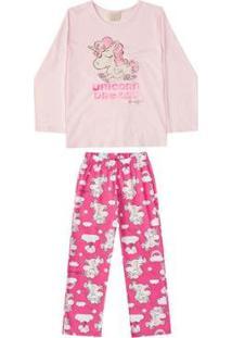 Pijama Blusa E Calça Meia Malha Mãe E Filha Quimby Feminino - Feminino-Rosa