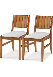 Kit 2 Cadeiras Salvador Verniz Jatoba Estofada 43Cm - 60332 - Sun House