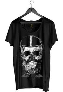 Camiseta Estonada Corte À Fio Joss Iron Masculina - Masculino-Preto