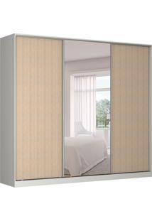 Guarda-Roupa Casal Com Espelho Tunas Ii 3 Pt 3 Gv Branco E Noce