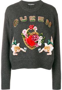 Dolce & Gabbana Suéter De Cashmere Com Padronagem - Cinza